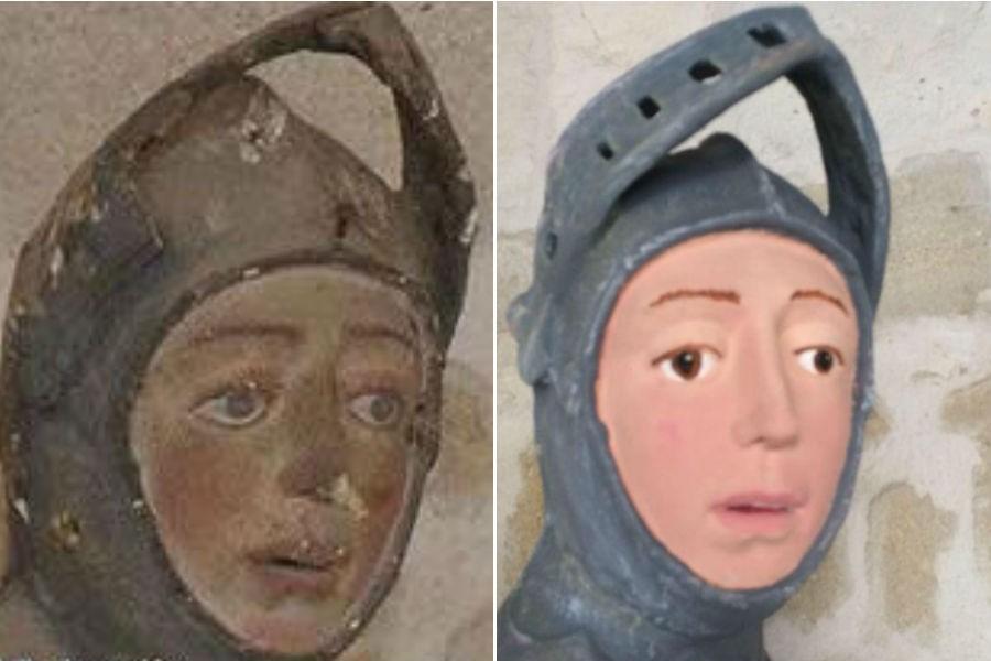 O antes e o depois da restauração (Foto: Reprodução)