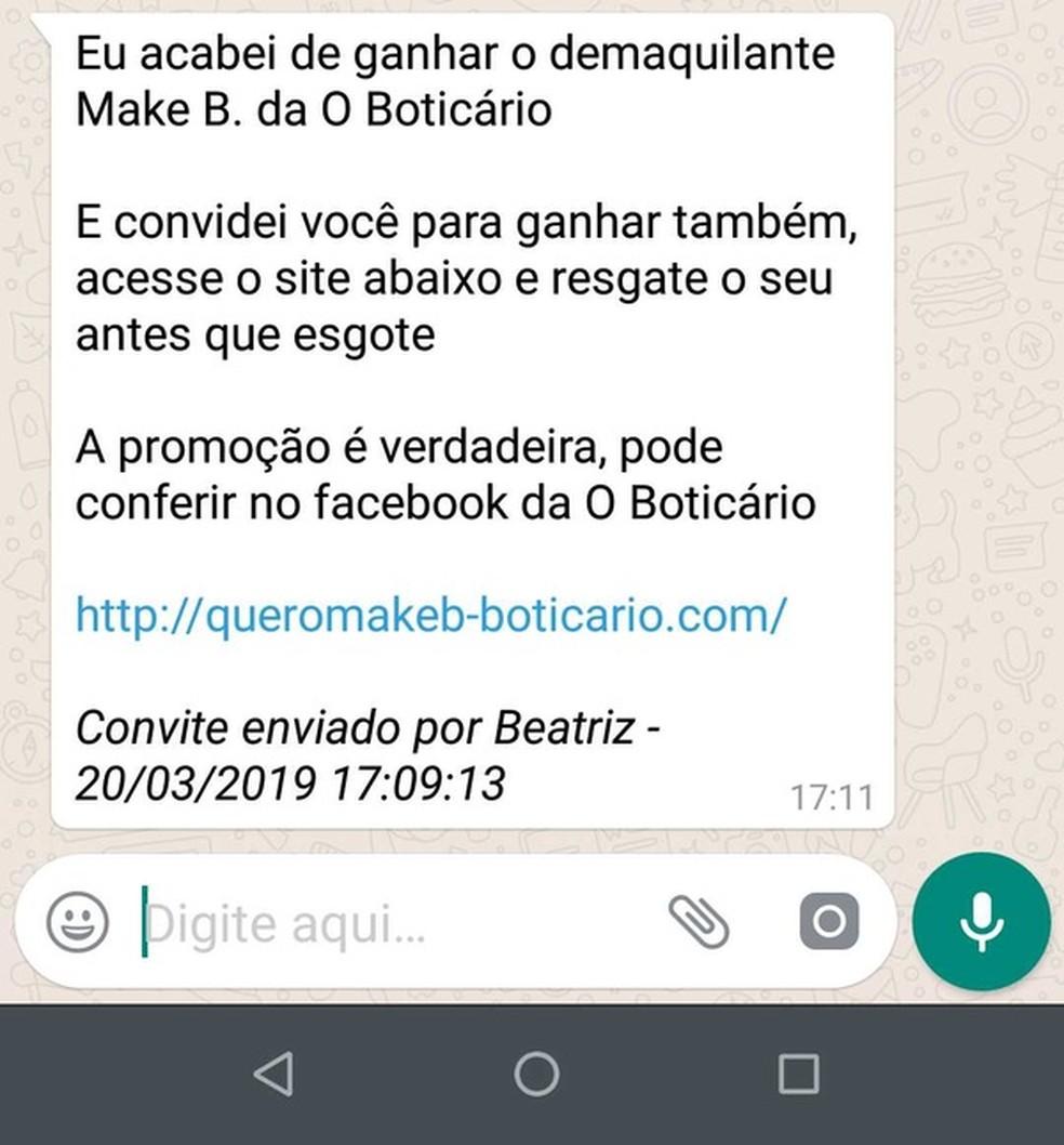 Falsas promoções de O Boticário no WhatsApp continham links falsos para roubar dados — Foto: Divulgação/PSafe