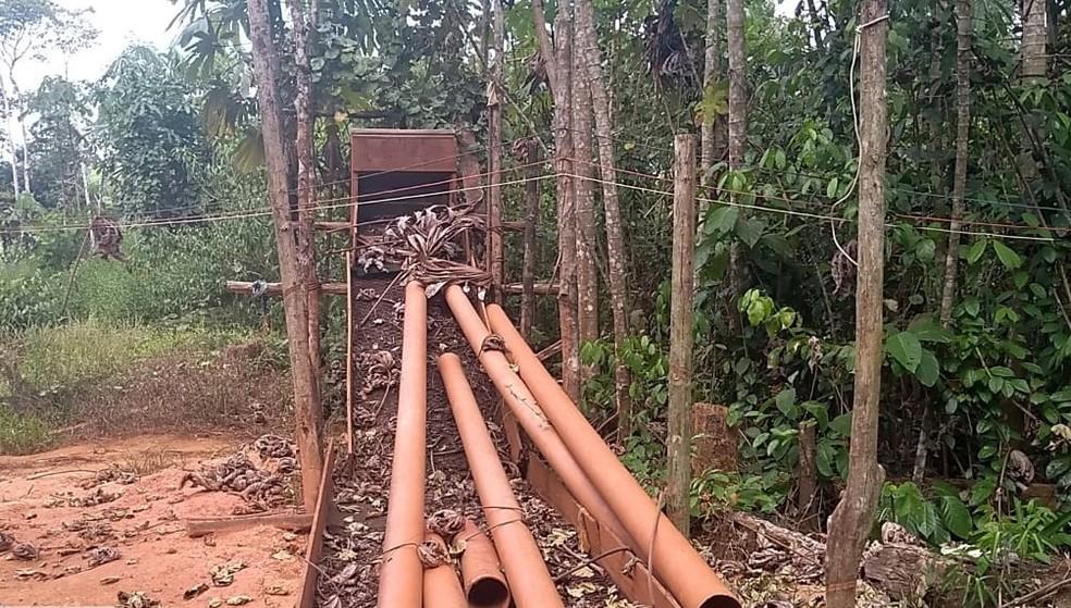 Garimpo interditado no interior do Amapá — Foto: Divulgação