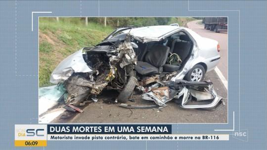 Homem morre após invadir pista contrária e bater em caminhão na Serra catarinense