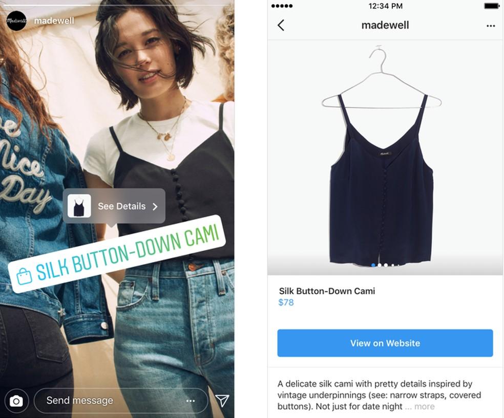 Posts de vendas no Stories são identificados com etiquetas  â?? Foto: Divulgação/Instagram