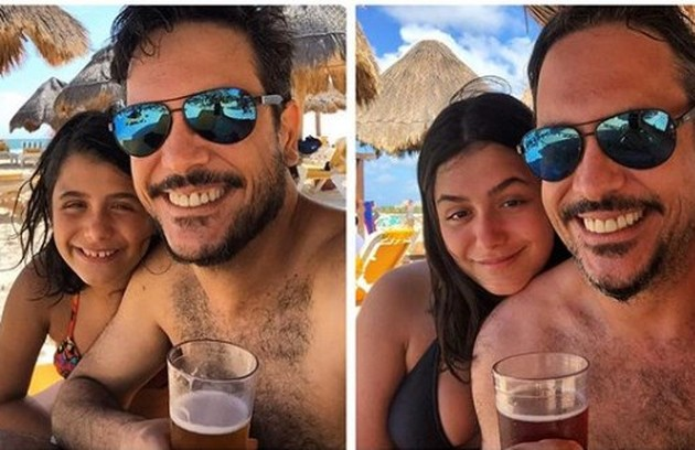 Lucio Mauro Filho, o Mario de 'Bom sucesso', voltou ao México depois de cinco anos com a filha Luiza. Eles posaram numa praia na Riviera Maya (Foto: Reprodução)