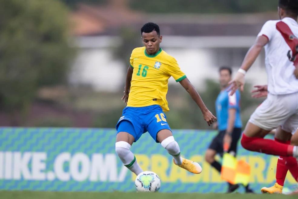 Riquelme comemora gol pela seleção brasileira sub-20 em goleada por 6 a 0 sobre o Peru em quadrangular — Foto: Lucas Figueiredo/CBF