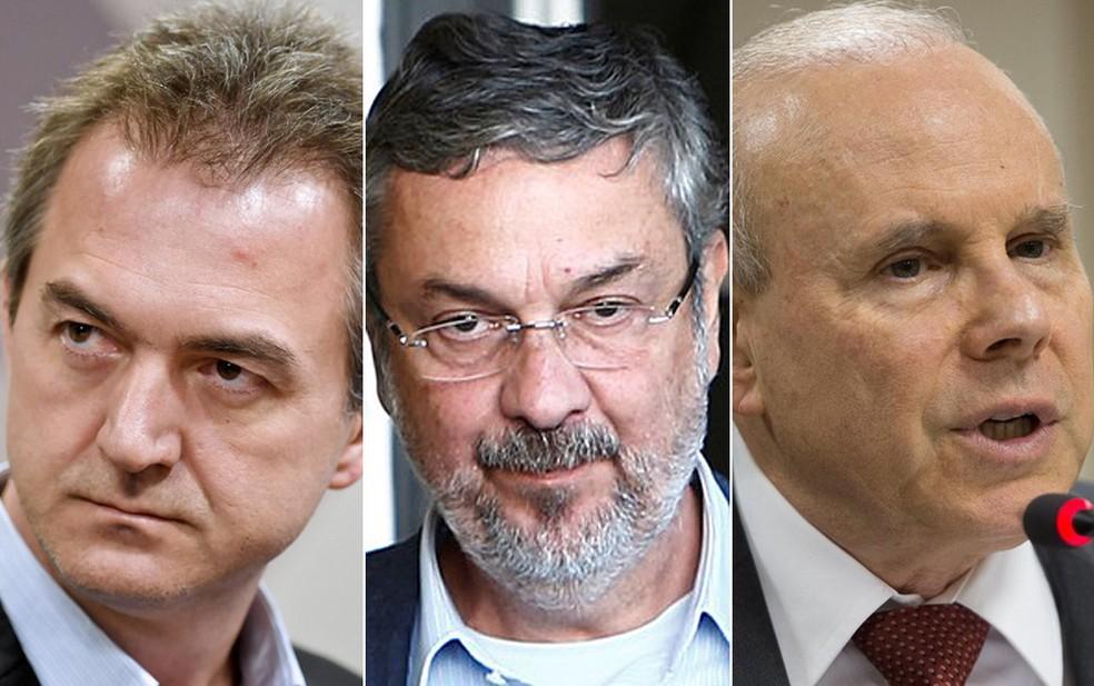 Montagem com fotos de Joesley Batista, Antonio Palocci e Guido Mantega — Foto: Evaristo Sa/AFP; Rodolfo Buhrer/Reuters; Rodrigues Pozzebom/Agência Brasil