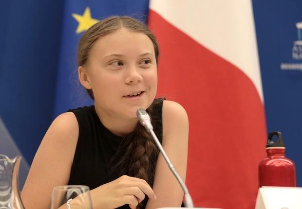 Greta Thunberg, jovem ativista do clima, não viaja de avião por causa de sua alta emissão de carbono (Foto: Micah Garen/Getty Images)