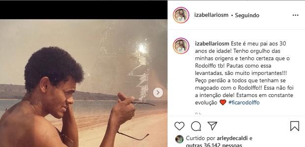 Izabella Rios, irmã de Rodolffo, defende o cantor em post (Foto: Reprodução/Instagram)