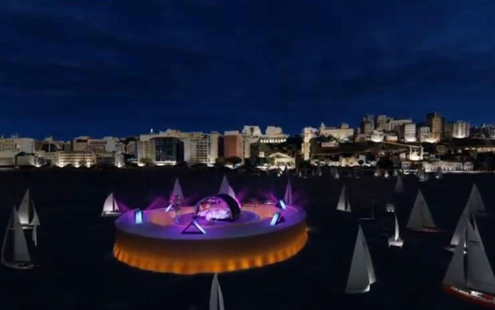 Projeção do palco da festa de réveillon em Salvador em 2020, que não terá publico — Foto: Reprodução