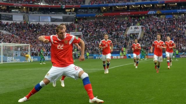 Dzyuba celebra terceiro gol dos russos