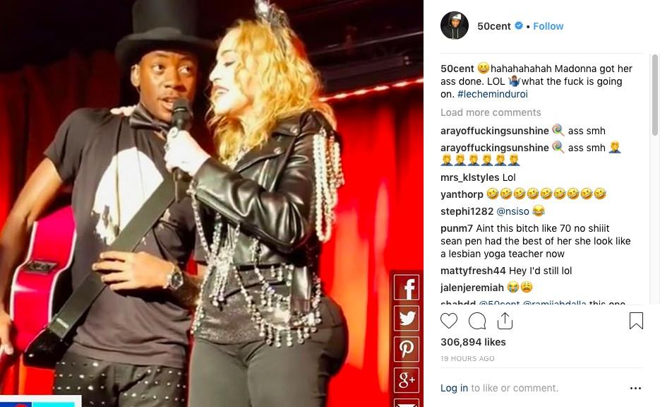 O post do rapper 50 Cent fazendo piada com os supostos implantes feitos por Madonna (Foto: Instagram)