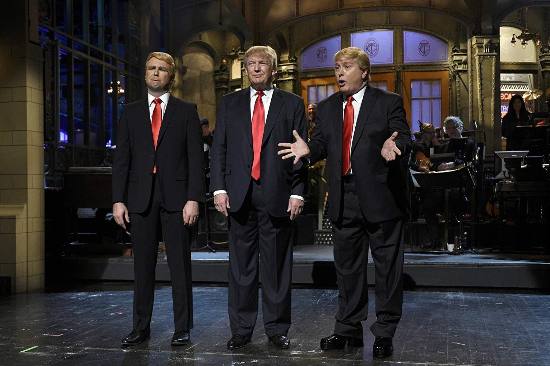 Taran Killam, Donald Trump, e Darrell Hammond no Saturday Night Live em 2015 (Foto: Divulgação)