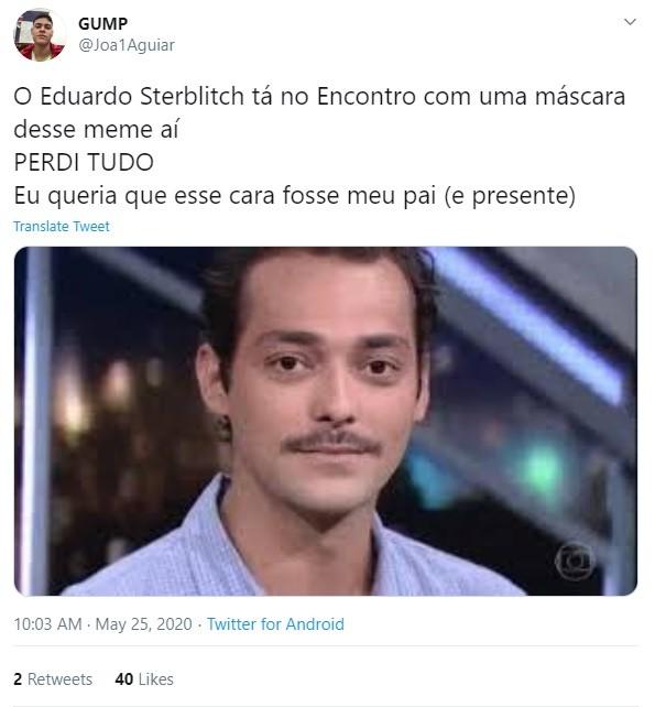 Internauta comenta participação de Eduardo Sterblitch no 'Encontro' (Foto: Reprodução Twitter)