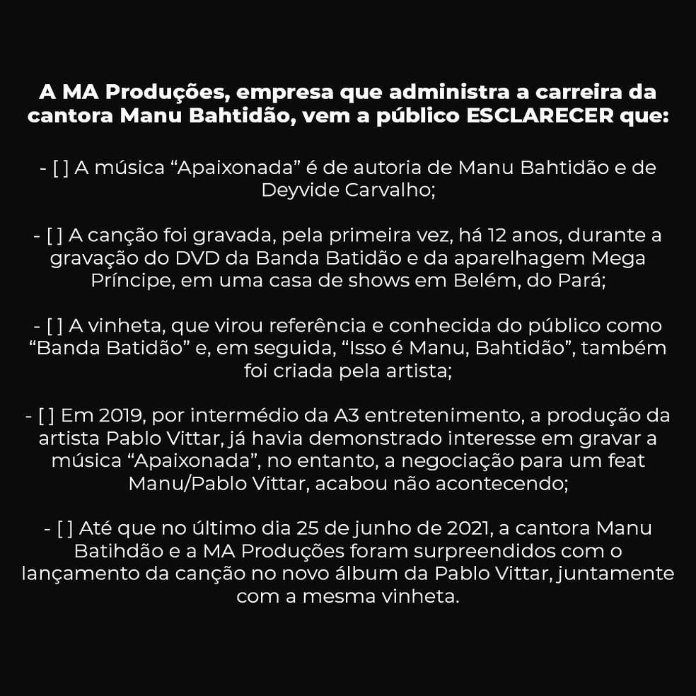Primeira parte do comunicado da empresa MA Produções sobre a música 'Apaixonada' — Foto: Reprodução / Twitter Manu Batidão