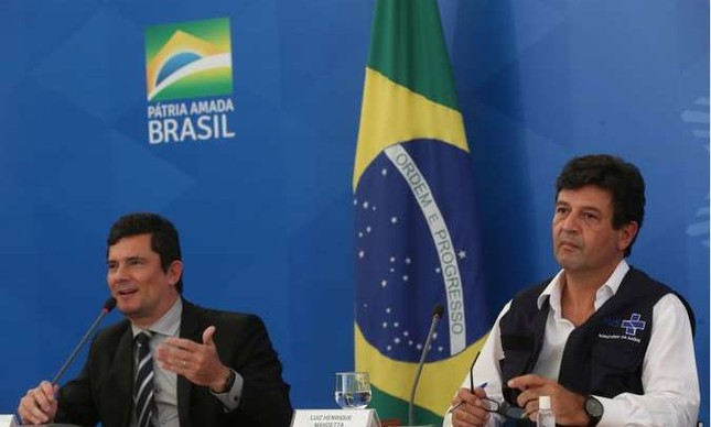 Os ex-ministros Sergio Moro e Luiz Henrique Mandetta