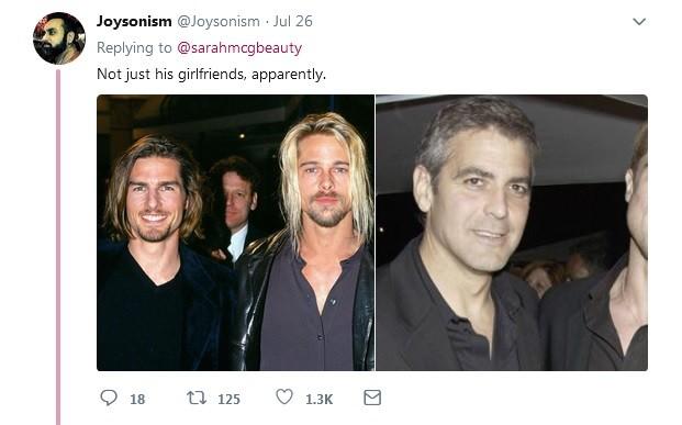 Usuários do Twitter também encontraram semelhanças no visual de Brad Pitt e seus amigos (Foto: Reprodução / Twitter)