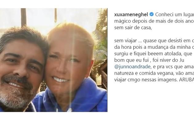 Junno e Xuxa estão na ilha de Aruba. O destino fica é no Reino dos Países Baixos (Foto: Reprodução)
