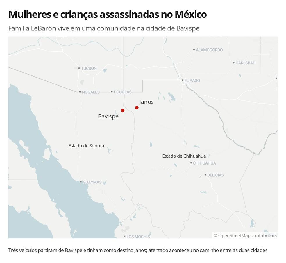 Localização no mapa da região do norte do México onde ocorreu o crime — Foto:  G1
