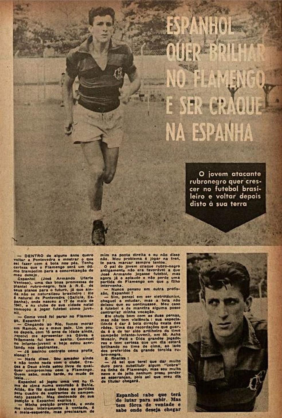 """José Ufarte, o """"Espanhol"""", em matéria da Revista do Esporte em 1961 — Foto: Reprodução / Revista do Esporte"""
