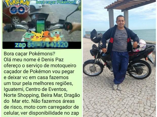 """Motoboy cearense Denis Paz anunciou serviço de transporte para """"caçadores de Pokémon"""" (Foto: Reprodução/Arquivo pessoal)"""