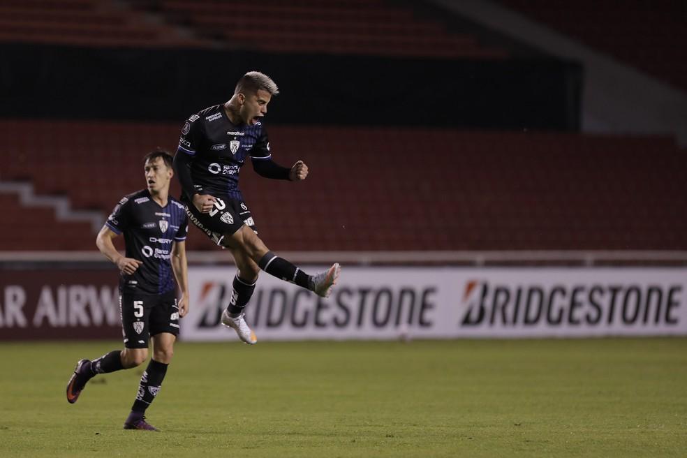 Ortiz comemora o gol do Independiente del Valle contra o Defensa y Justicia — Foto: Staff Images / CONMEBOL