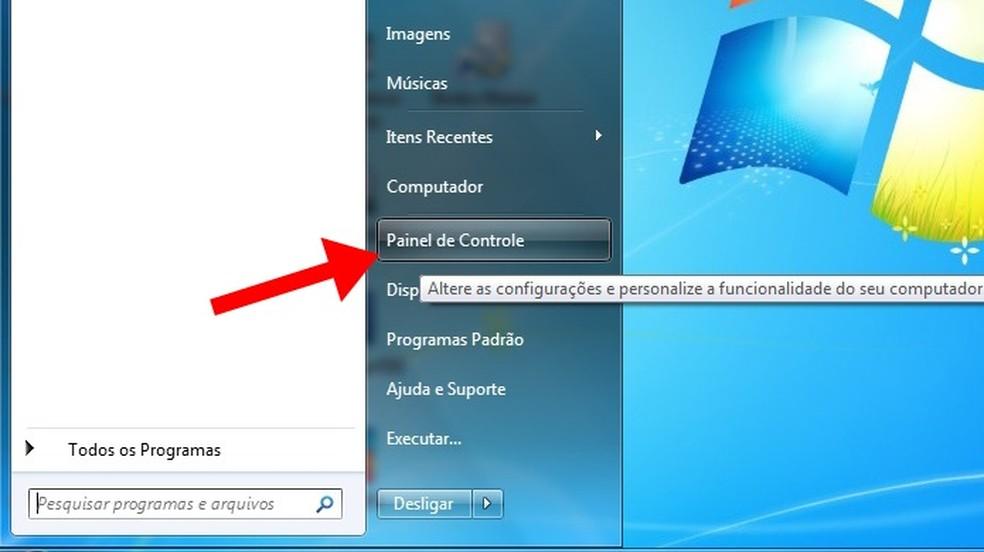 Acesse o painel de controle do Windows — Foto: Reprodução/Paulo Alves