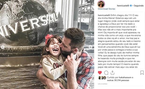 Heri Castelli e a filha, Maria Eduarda (Foto: Reprodução/Instagram)