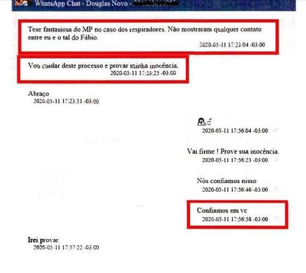 Conversa entre Moisés e Douglas Borba — Foto: Reprodução/NSC TV