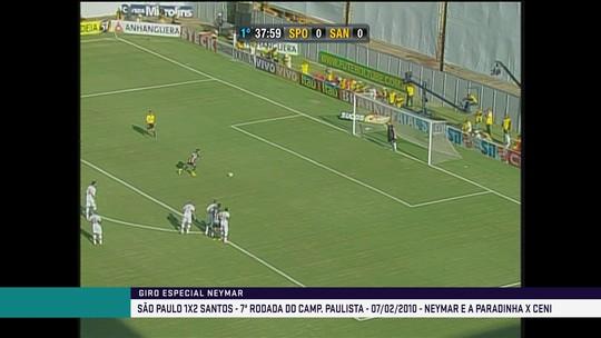 Neymar faz paradinha duas vezes de frente para Rogério Ceni em 2010
