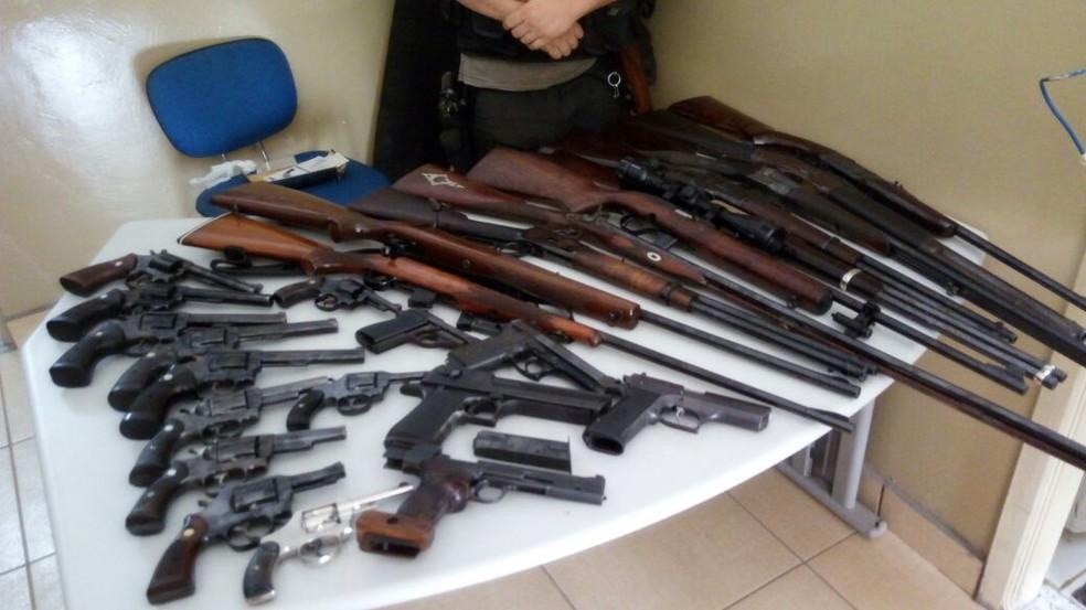 Na casa foram encontradas mais de 25 armas de fogo (Foto: Divulgação/Polícia Civil)