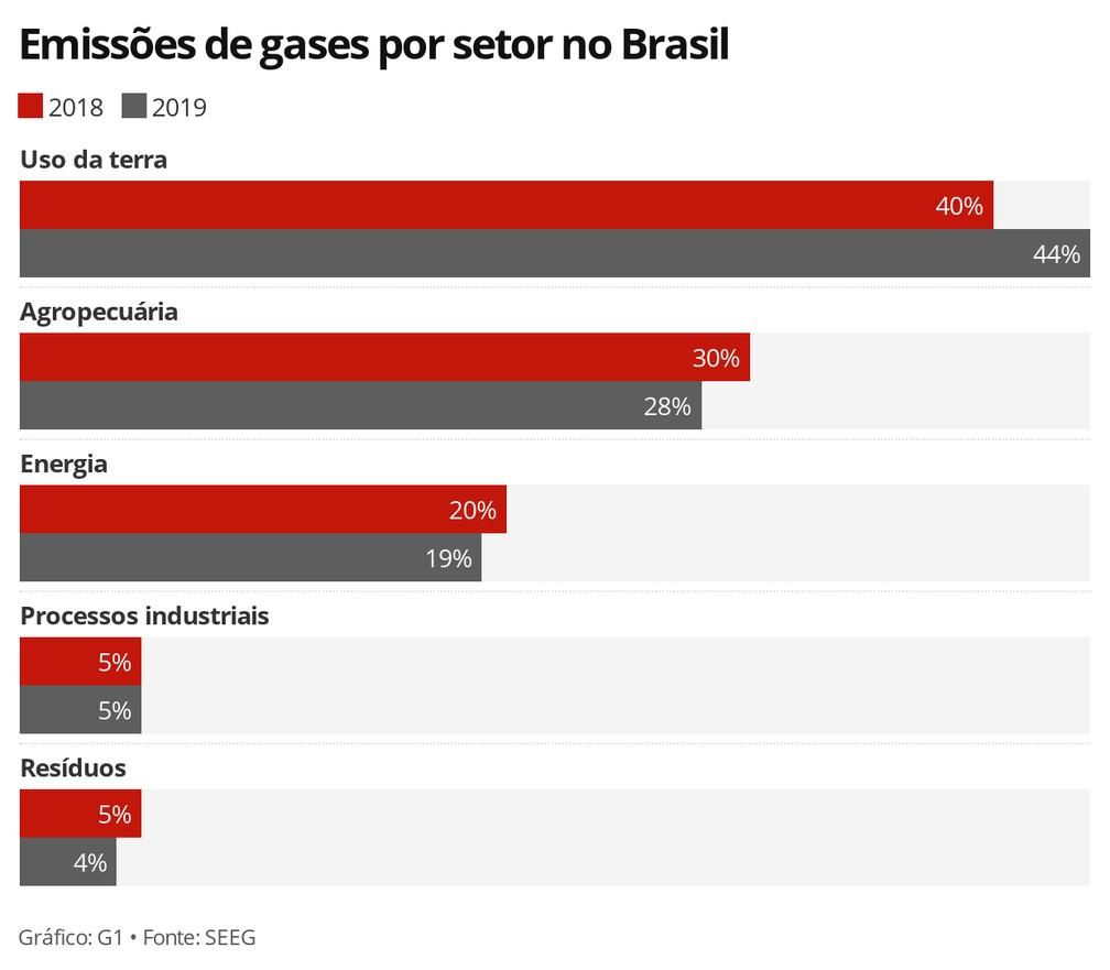 Emissões de gases por setor no Brasil — Foto: G1