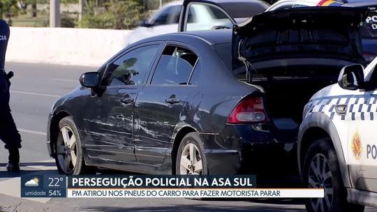 Policiais atiram em pneus de carro para conter motorista na L2 Sul