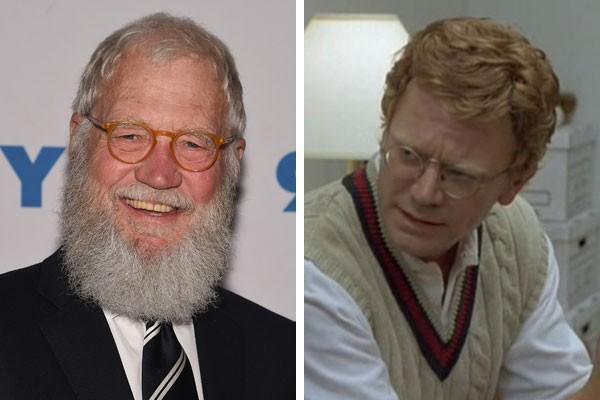 David Letterman e sua versão cinematográfica interpretada por John Michael Higgins (Foto: Getty Images/Reprodução)