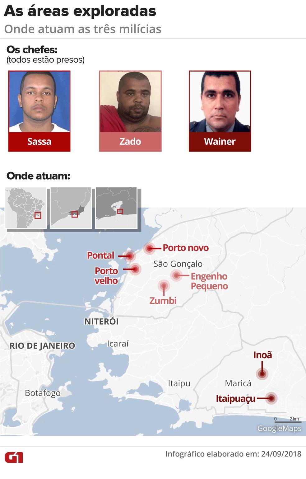 Mapa localiza as regiões sob o poder de paramilitares — Foto: Infográfico: Juliane Monteiro/G1