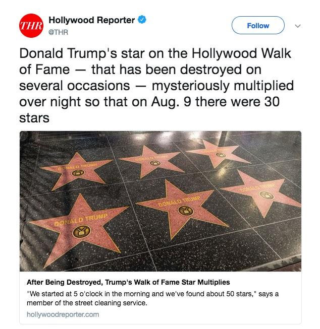 A notícia do site The Hollywood Reporter sobre as estrelas fakes de Donald Trump instaladas na Calçada da Fama de Hollywood (Foto: Twitter)