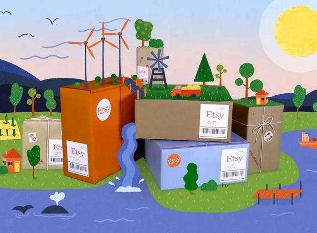 Etsy de compromete a anular e reduzir as emissões de carbono causadas pelo transporte de seus produtos (Foto: Etsy/ Reprodução)