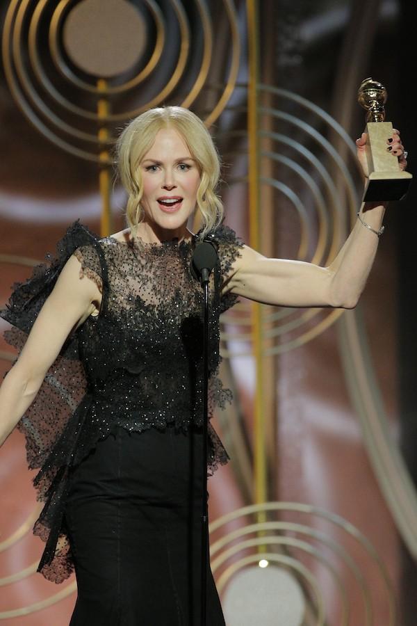 A atriz Nicole Kidman durante seu discurso de agradecimento no Globo de Ouro 2018 (Foto: Getty Images)