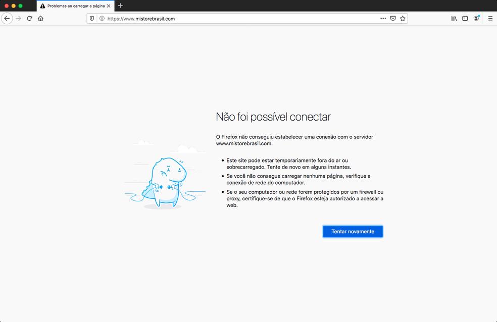 Navegador apresenta mensagem de erro quando tenta acessar a Mi Store Brasil — Foto: Reprodução/TechTudo