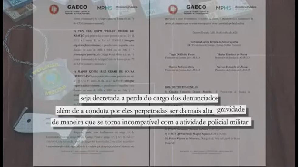 Investigação do Gaeco e MP pede perda do cargo dos denunciados — Foto: TV Morena/Reprodução