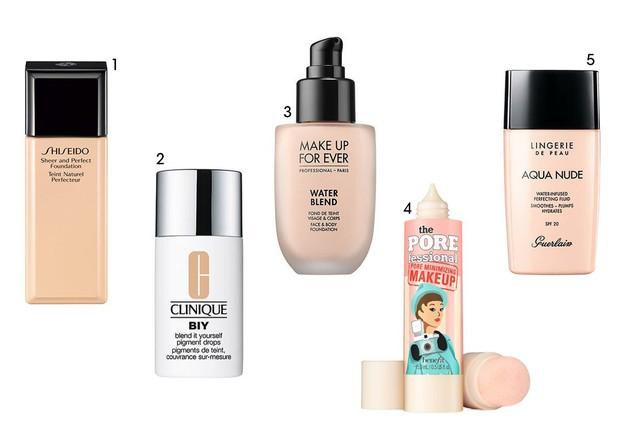 1. Shiseido Sheer and Perfect Foundation (R$ 293,00) 2. Clinique Blend It Yourself (R$ 159,00) 3. Make Up Forever Waterblend (R$ 130,00) 4. Benefit Porefessional (R$ 162,00) 5. Guerlain Lingerie De Peau Aqua Nude (R$ 250,00) (Foto: Reprodução )