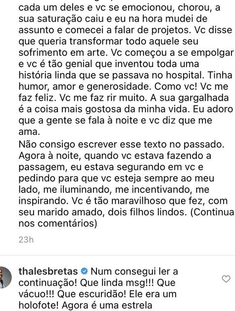Mensagem de Thales Bretas no Instagram (Foto: Reprodução)