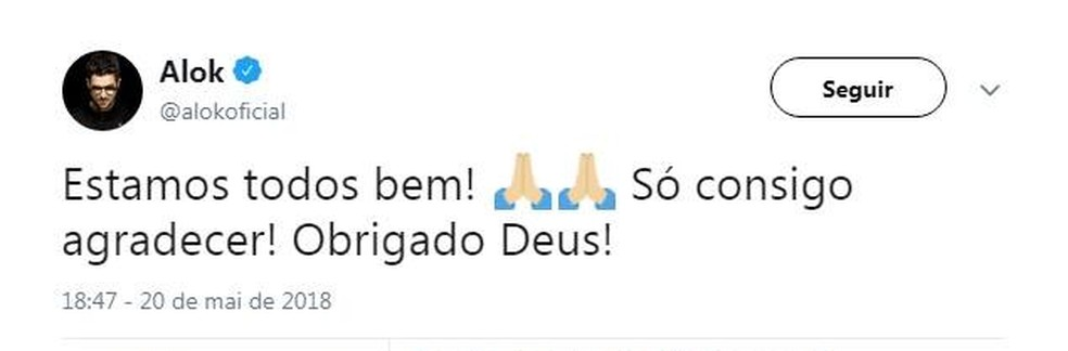 DJ Alok tranquiliza fãs nas redes sociais após susto no Aeroporto de Juiz de Fora neste domingo (20) (Foto: Reprodução/Alok/Twitter)