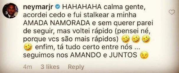 Neymar tranquiliza fãs (Foto: Reprodução)