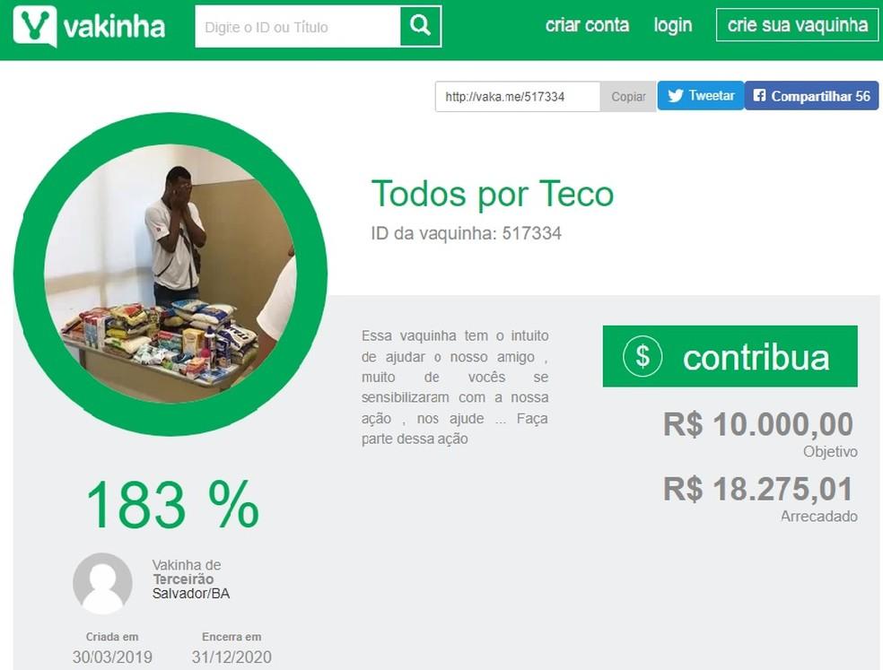 Vaquinha feita por estudantes para ajudar colega na Bahia alcançou mais de R$ 18 mil — Foto: Divulgação