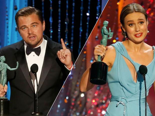 Leonardo DiCaprio e Brie Larson venceram prêmios do sindicato dos atores e são favoritos ao Oscar (Foto: Lucy Nicholson/Reuters)