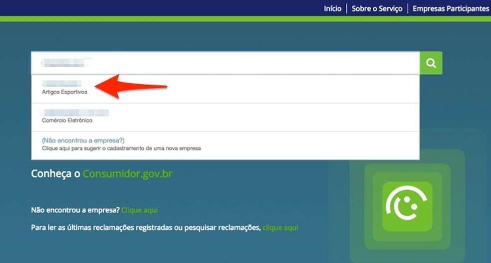 Ação para escolher uma empresa para iniciar uma reclamação de produto da Black Friday no site Consumidor.gov.br — Foto: Reprodução/Marvin Costa