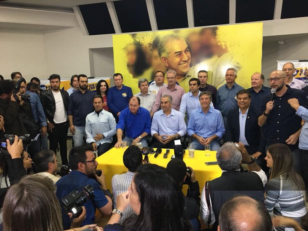 Convenção deste sábado (4) que confirmou a escolha de Reinaldo Azambuja para disputar a reeleição ao governo do estado pelo PSDB (Foto: Cláudia Gaigher/TV Morena)