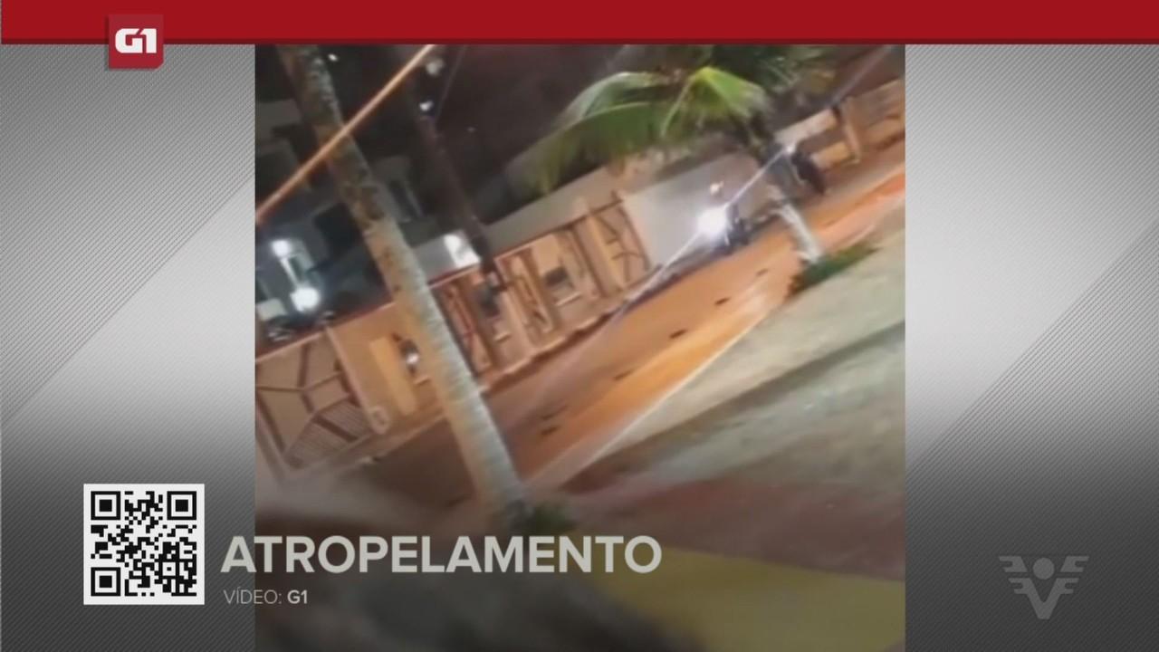 G1 em 1 Minuto - Santos: PM empina moto e acaba atropelando outro policial