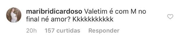 Mariana Bridi corrige o marido, Rafael Cardoso (Foto: Reprodução/Instagram)