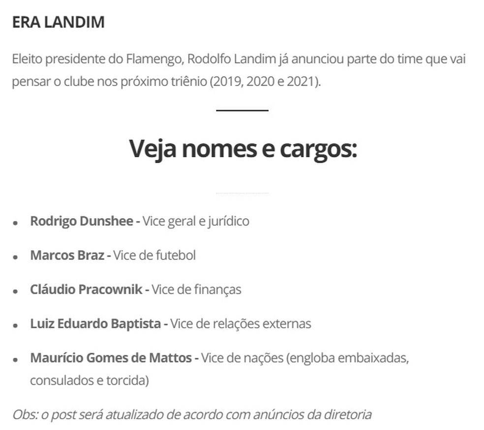 Vice Landim Chapa Roxa Flamengo — Foto: Reprodução