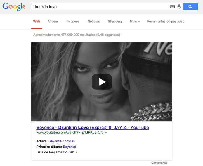 Busca por 'drunk in love' mostra em destaque vídeo da cantora Beyoncé Knowles (Foto: Reprodução/YouTube)
