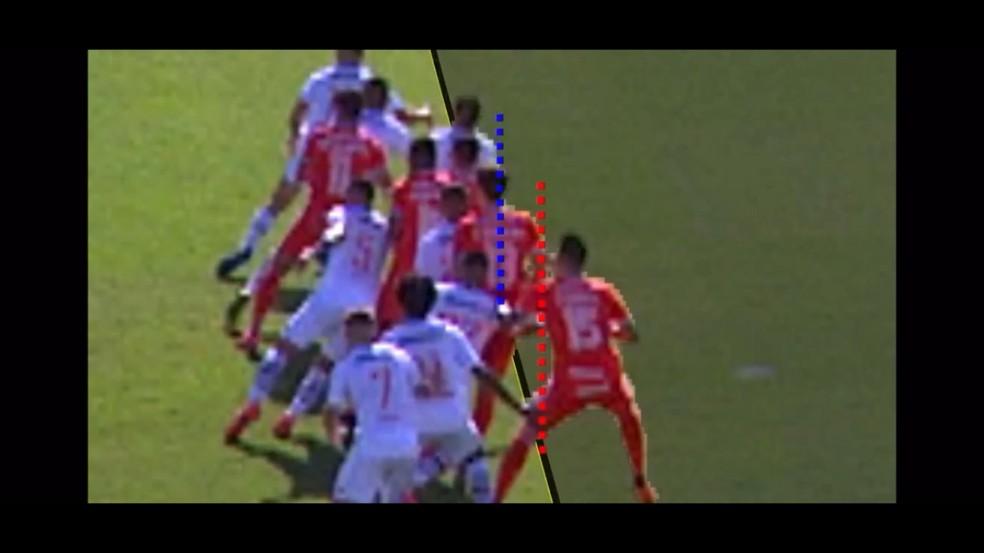 Confira momento em que as linhas vermelha e azul são traçadas nos ombros de Rodrigo Dourado (vermelho) e Ricardo Graça (azul) — Foto: Reprodução